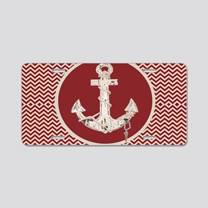 red chevron nautical anchor Aluminum License Plate