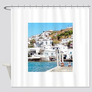 The Hills of Greece Shower Curtain
