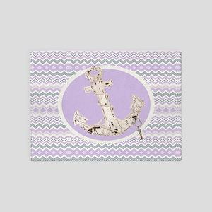 girly anchor lilac purple chevron 5'x7'Area Rug