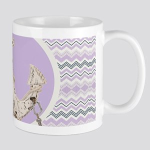 girly anchor lilac purple chevron Mugs