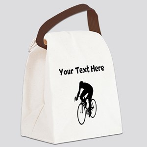 Cyclist Silhouette Canvas Lunch Bag