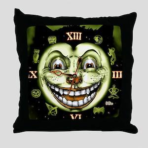 Black Cat 13 Clock Halloween Throw Pillow