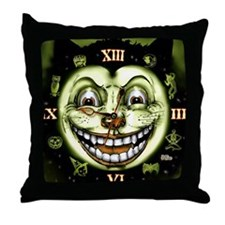Black Cat 13 Clock Halloween Throw Pillow