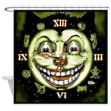 Black Cat 13 Clock Halloween Shower Curtain