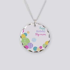 Happy Birthday Step Mom Necklace Circle Charm