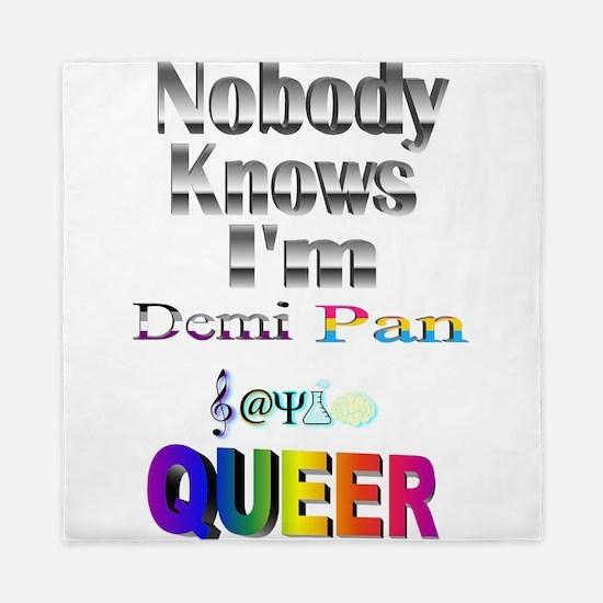 Nobody Knows I'm Demi Pan Sapio QUEER Queen Duvet