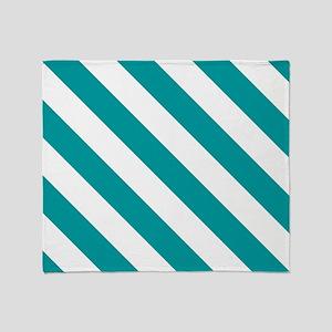 Blue, Teal: Stripes Pattern (Diagona Throw Blanket