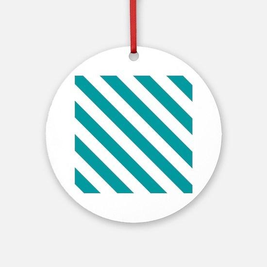Blue, Teal: Stripes Pattern (Diagon Round Ornament