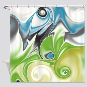 Stunning in Aqua and Green Shower Curtain