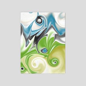 Stunning in Aqua and Green 5'x7'Area Rug