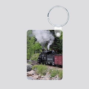 Steam train & river, Colorado Keychains