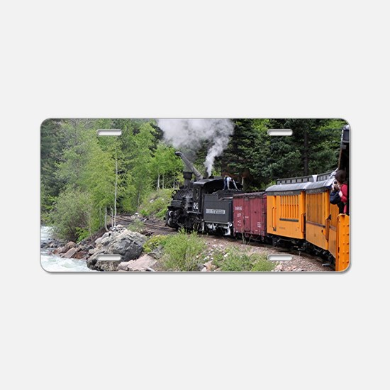 Steam train & river, Colora Aluminum License Plate