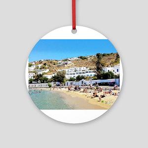 Greek Beach Day Round Ornament