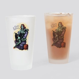 Halloween Zombie Girl Pin Up Drinking Glass