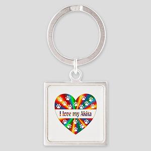 Akita Love Square Keychain