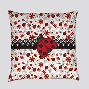 Charming Ladybugs and Red Flowers Everyday Pillow