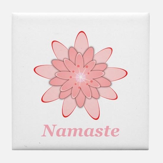 Namaste Pink Lotus Tile Coaster
