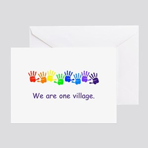 We Are One Village Rainbow Gifts Greeting Cards