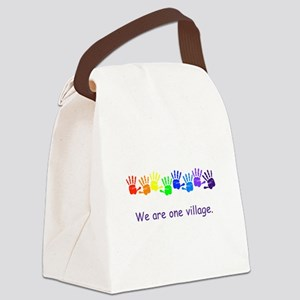 We Are One Village Rainbow Gifts Canvas Lunch Bag