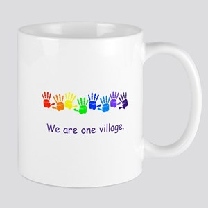 We Are One Village Rainbow Gifts Mugs