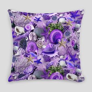 Purple Seashells and Starfish Everyday Pillow
