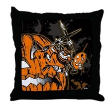 Halloween Pumpkin Spider Artist Throw Pillow