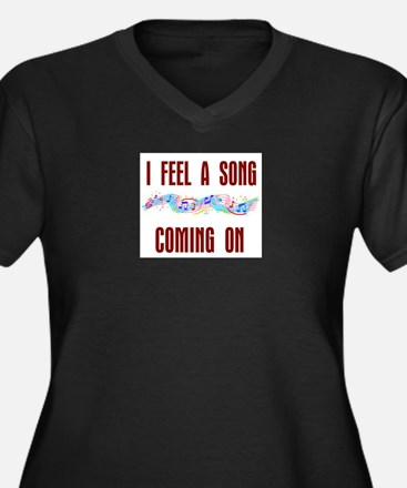 SONG COMING ON Women's Plus Size V-Neck Dark T-Shi