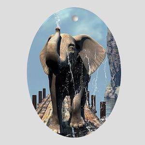 Elephant on a jetty Oval Ornament