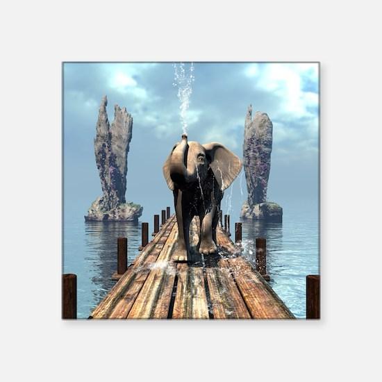 Elephant on a jetty Sticker