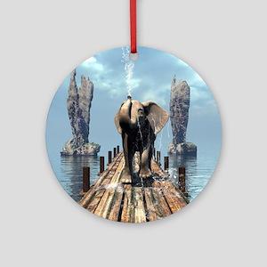 Elephant on a jetty Round Ornament