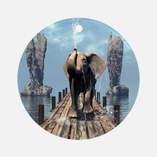 Elephant on a jetty Round Ornament