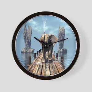 Elephant on a jetty Wall Clock
