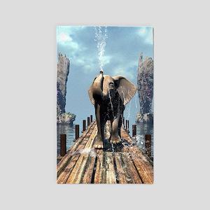 Elephant on a jetty Area Rug