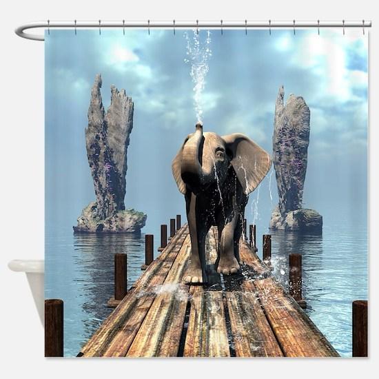 Elephant on a jetty Shower Curtain