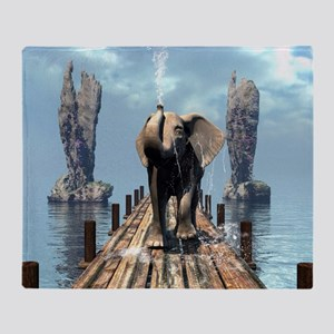 Elephant on a jetty Throw Blanket