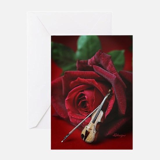Rose & Violin Greeting Card