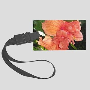Orange Tropical Flower Large Luggage Tag