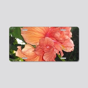 Orange Tropical Flower Aluminum License Plate