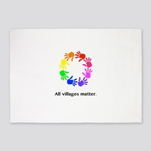 All Villages Matter Rainbow Hands 5'x7'Area Rug