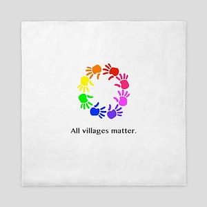 All Villages Matter Rainbow Hands Queen Duvet