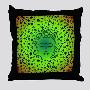 Buddha Green by designeffects Throw Pillow