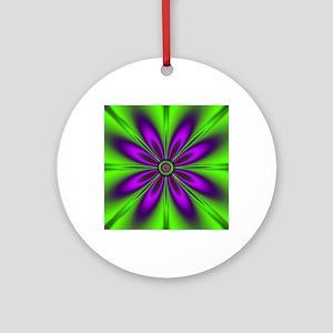 Purple Green Flower by designeffec Round Ornament