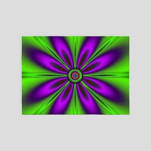 Purple Green Flower by designeffec 5'x7'Area Rug