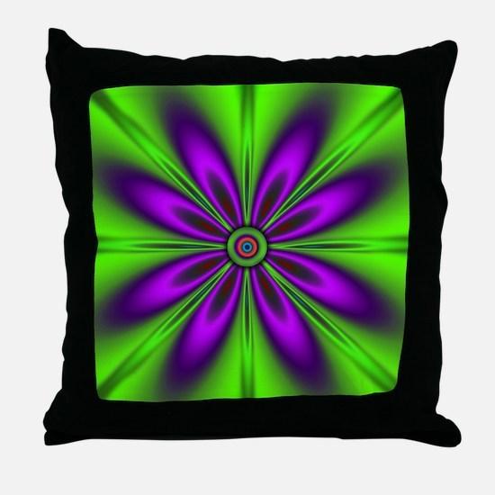 Purple Green Flower by designeffects Throw Pillow