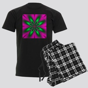 Green Flower on Pink by design Men's Dark Pajamas