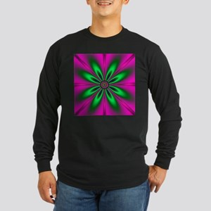 Green Flower on Pink by design Long Sleeve T-Shirt