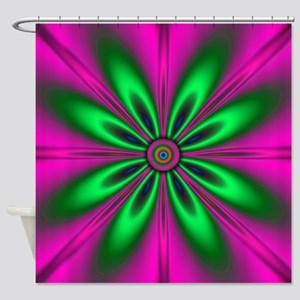 Green Flower on Pink by designeffec Shower Curtain