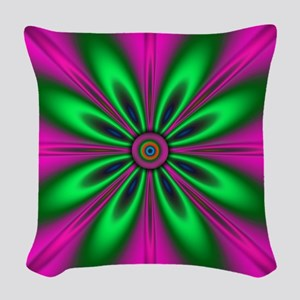 Green Flower on Pink by design Woven Throw Pillow