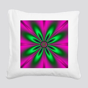 Green Flower on Pink by desig Square Canvas Pillow