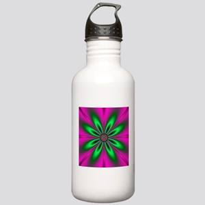 Green Flower on Pink b Stainless Water Bottle 1.0L